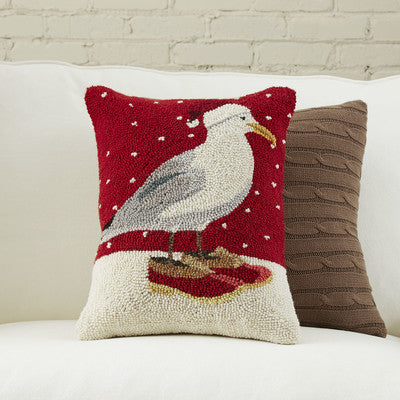 Hand Hooked Wool Seagull Christmas Pillow