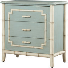 Blue Three Drawer Chest with Faux Bamboo Trim