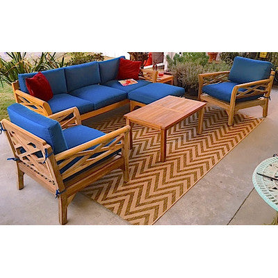 Six Piece Teak Outdoor Deep Seating Group Eight Colors