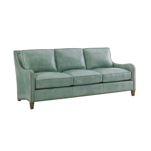 Tommy Bahama Blue Leather Sofa
