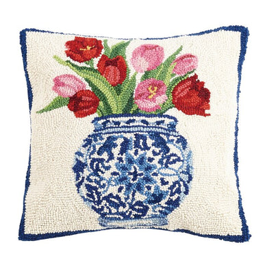 Tulips in Chinoserie Case Hooked Wool Pillow