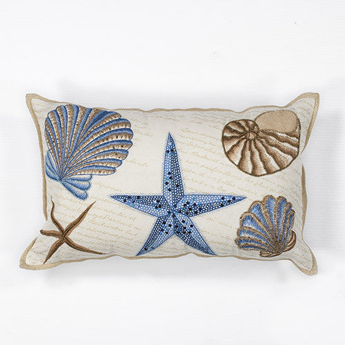 Blue and Ivory Lumbar Seashell Pillow