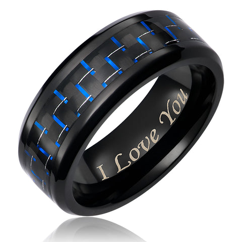 mens-wedding-band-in-titanium-8mm-ring-black-plated-engraved-i-love-you-black-and-blue-carbon-fiber-AA4612611-1