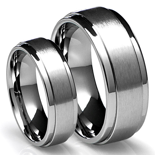Lluna 8MM/6MM Wedding Band Set