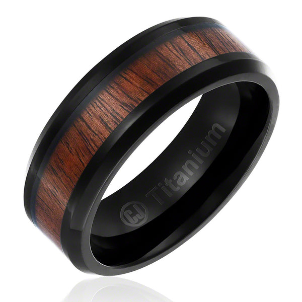 mens-wedding-band-in-titanium-8mm-promise-engagement-ring-black-plated-with-dark-wood-inlay-beveled-edges-AA4612562-1