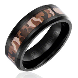 mens-camo-wedding-band-in-titanium-8mm-ring-black-plated-with-brown-military-camouflage-inlay-beveled-edges-AA4612578-1