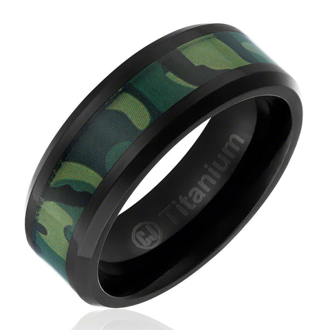 Camo Jungle Military Ring In Titanium Cavalier Jewelers