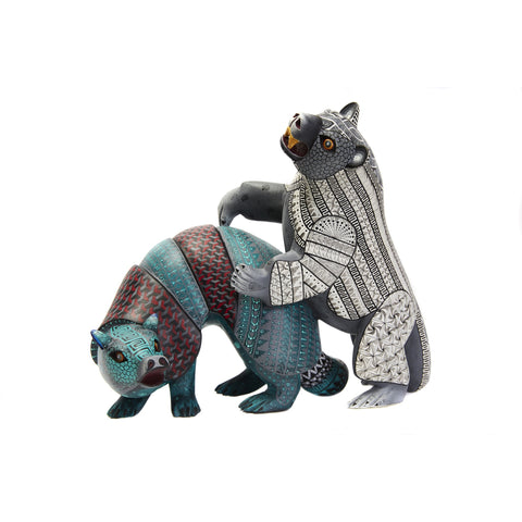 Armadillo vs Oso - Armadillo vs Bear Alebrije - Mexican Folk Art | Cactus Fine Art