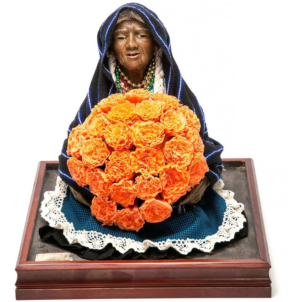 Vendedora de Xempatzuchil / Wax Sculpture Mexican Folk Art
