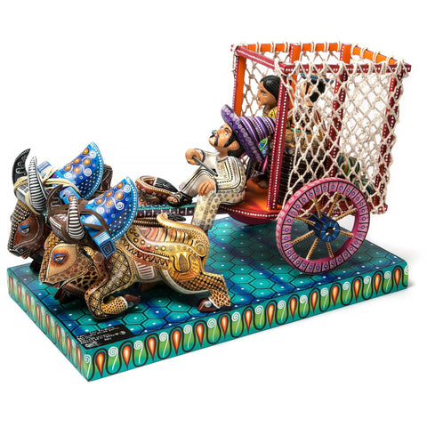 Carreta Herencia de mi Tierra / Woodcarving Alebrije Mexican Folk Art Sculpture