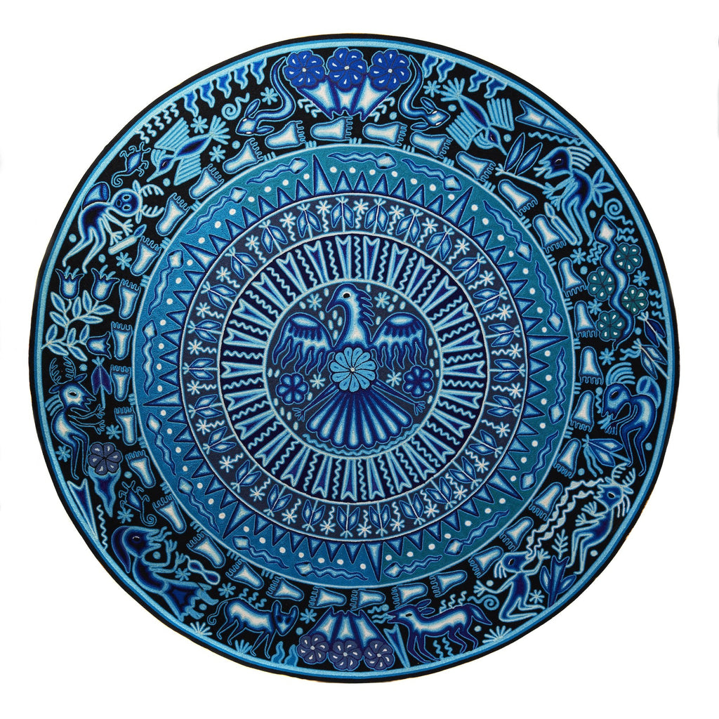 "Huichol Indian ""Wirikuta"" -  Blue Yarn Painting - Mexican Huichol Art - Mexican Folk Art 