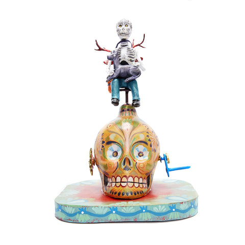 Vueltas de la muerte - Turns of death - Mexican Mechanical Folk Art Carton Sculpture
