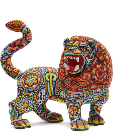Leon - Lion - Hand Beaded - Mexican Huichol Art - Mexican Folk Art | Cactus Fine Art