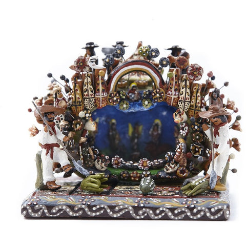 Nacimiento en una Calabaza / Ceramics Mexican Folk Art Miniature Nativity