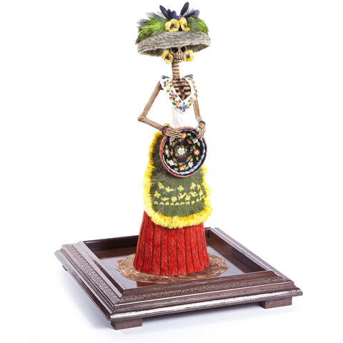 Catrina Dia de Muertos / Mexican Folk Art Sculpture Featherwork and Ceramics