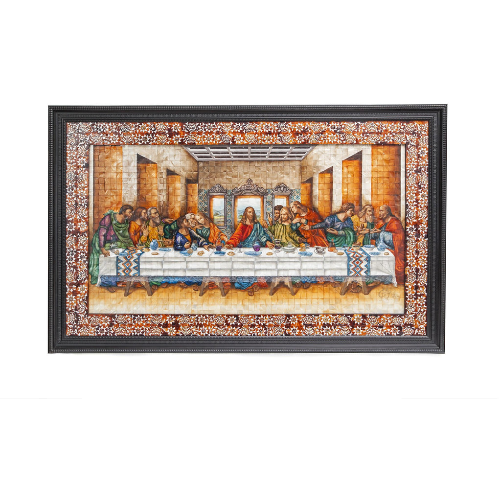 La Ultima Cena Colonial / Mexican Folk Art Inlay Nacre Frame
