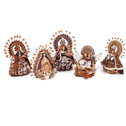 5 Virgenes / Ceramics Mexican Folk Art Clay