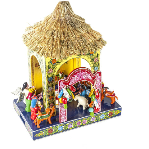 Nacimiento Temalacatzingo / Woodcarving Lacquer Mexican Folk Art Nativity