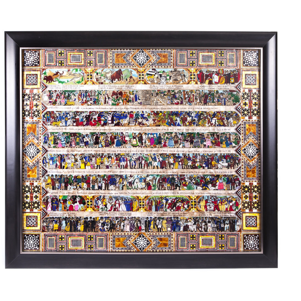 La Historia de Mexico / Mexican Folk Art Featherwork and Inlay Nacre Frame