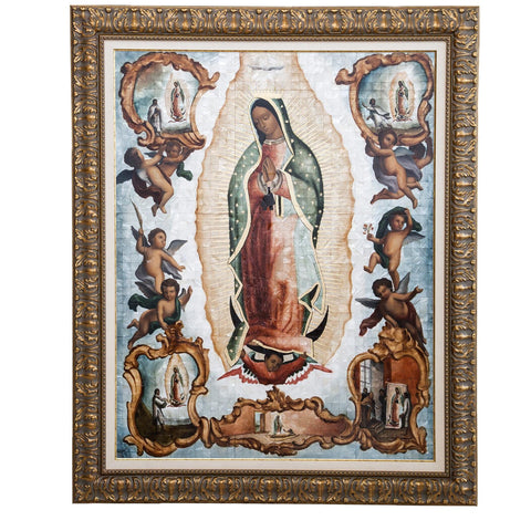 Virgen de Guadalupe Colonial en Concha / Mexican Folk Art Inlay Nacre Frame