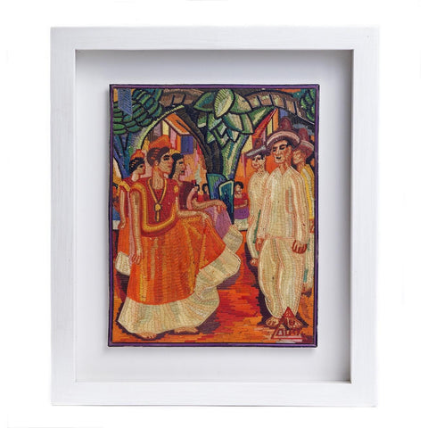 El Baile de Tehuantepec de Diego Rivera / Vegetable Fibers Mexican Folk Art Straw