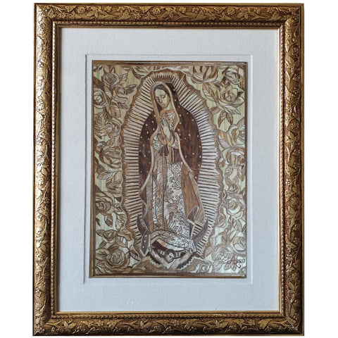 Virgen de Guadalupe - Natural Straw - Mexican Fine Art | Cactus Fine Art