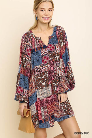 Multicolored Paisley Print Logo Puff Sleeve Dress with Split Neckline