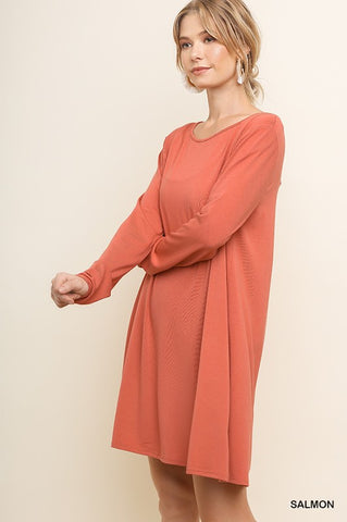 Long Sleeve Basic Salmon Dress with Gathered Details