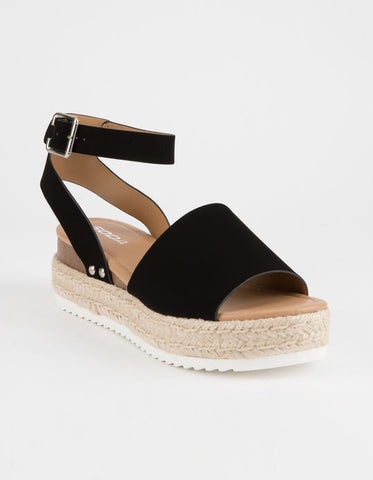 Soda Black Wedge Sandal