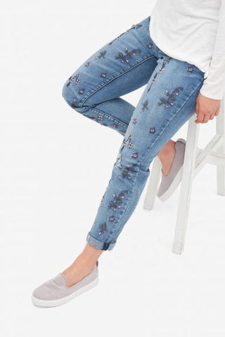 Tribal Denim Blue Embroided Jean