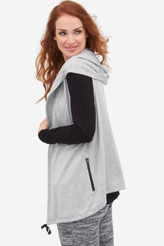 Tribal Grey Vest with hoodie and Zipper with Pockets