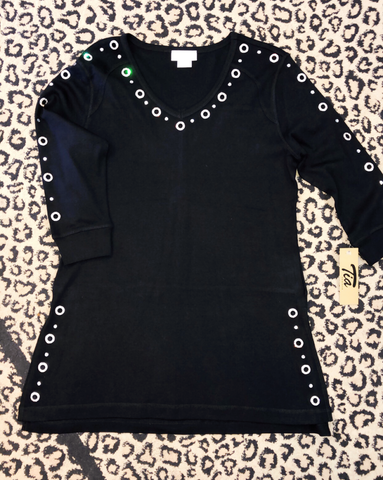 Tia Black Slit Tunic with Grommet
