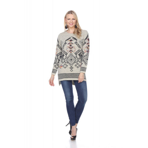 Tan Long in the back and Short in the front Aztec Sweater