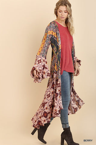 Ruffled Long Body Kimono with a Multicolored Graphic Print Design