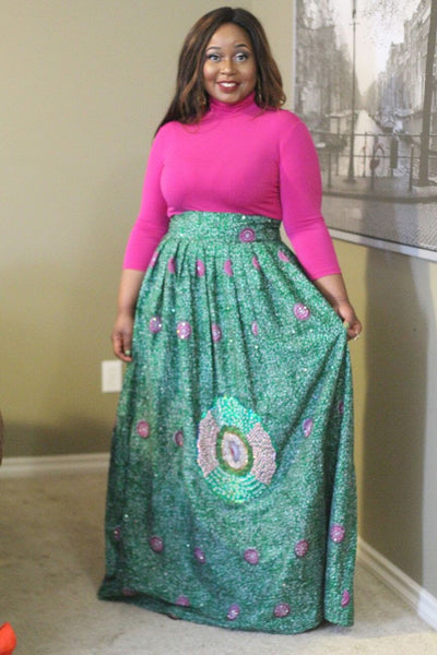 The Embelished Maxi Skirt (Green)