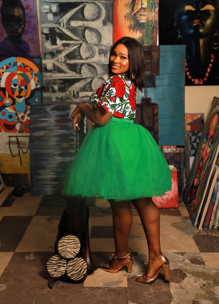 The customized Ifie tulle skirt and Ankara blouse set