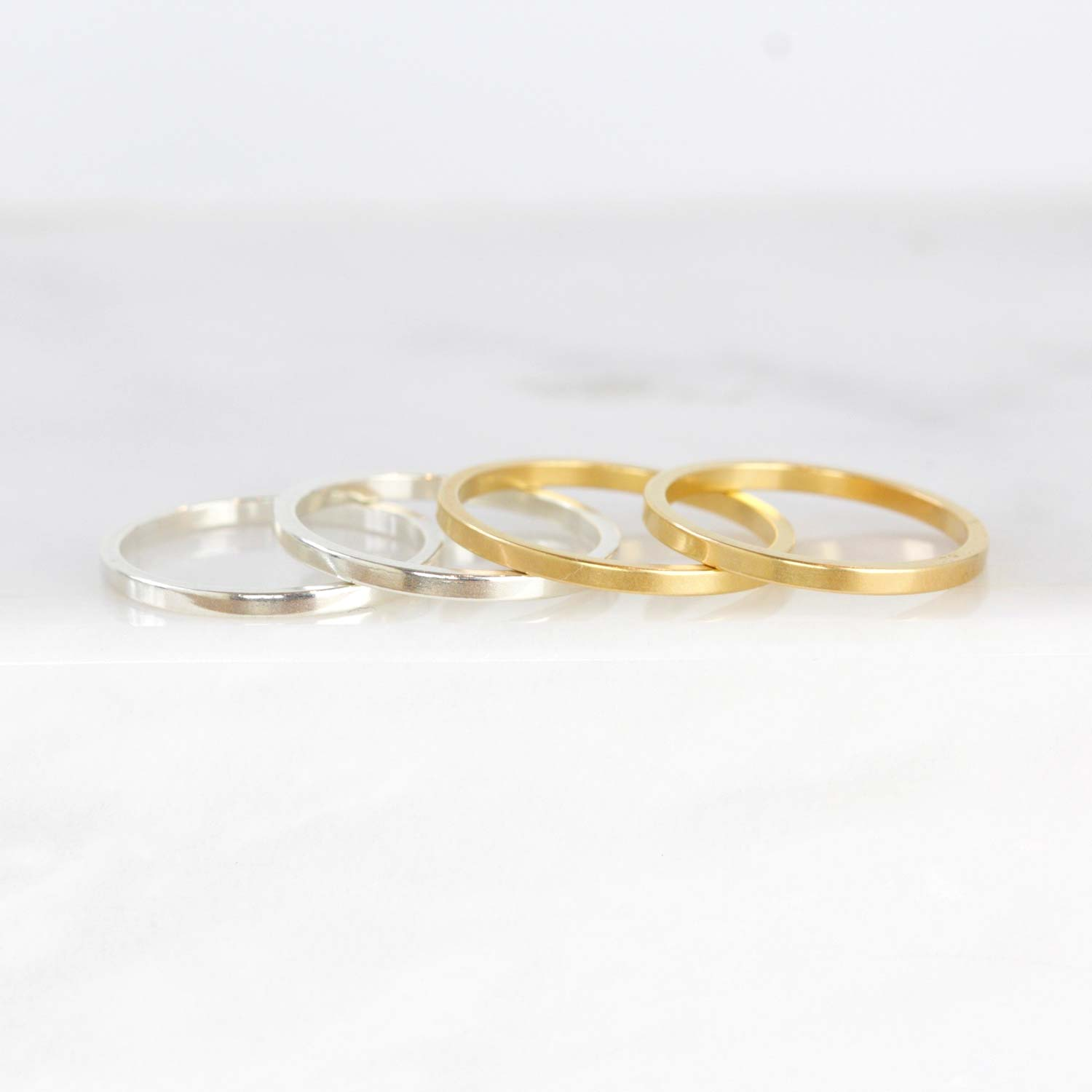 Classic Gold Vermeil or Silver Band Rings Holiday Gift for Friends
