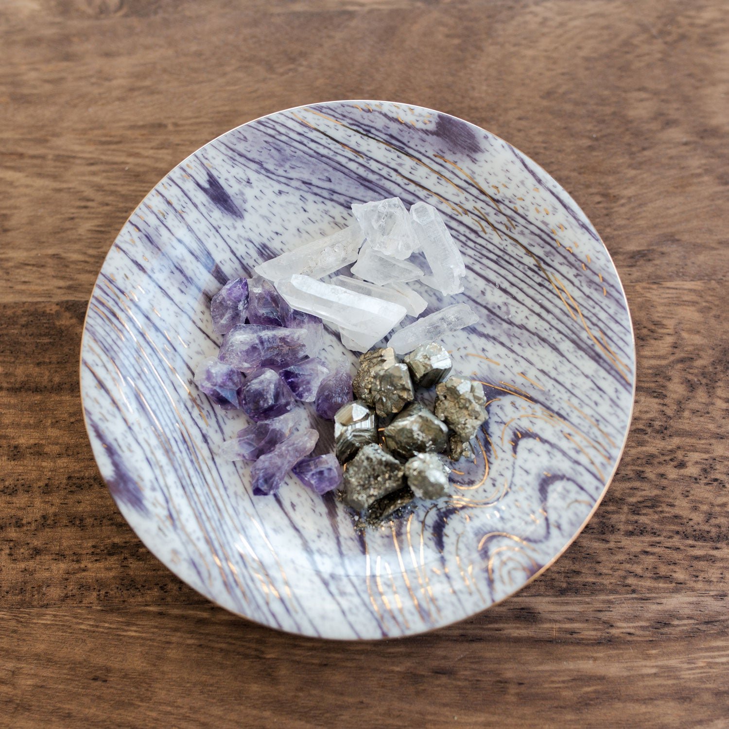 DIY Crystal Candle with Amethyst and Pyrite