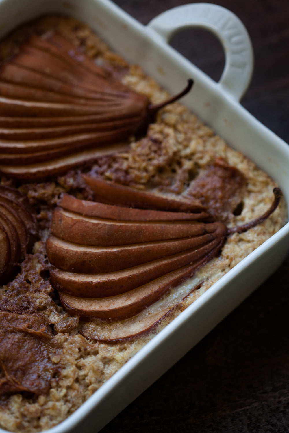 Bosc Pear, Maple and Healthy Caramel Baked Oatmeal