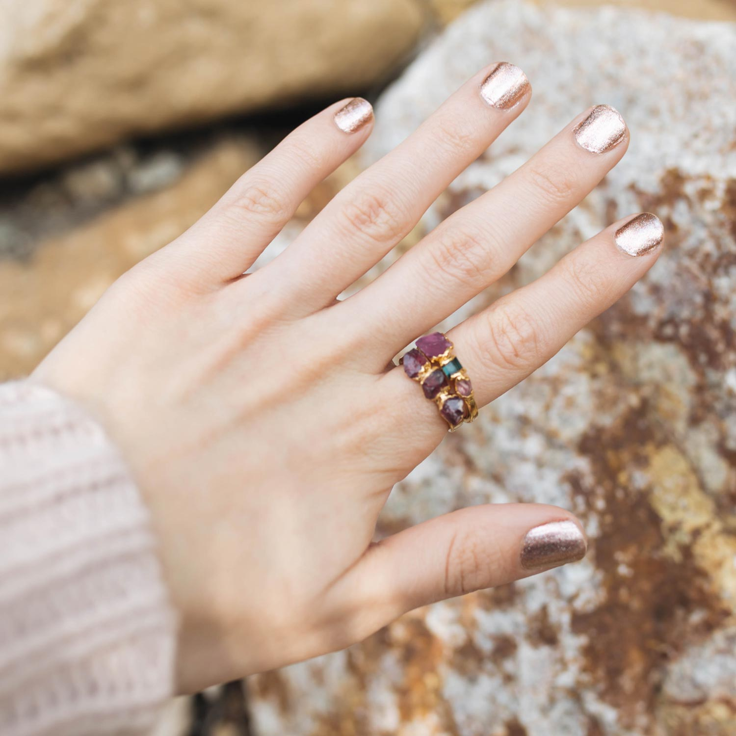 Dani Barbe Tourmaline and Garnet Rings