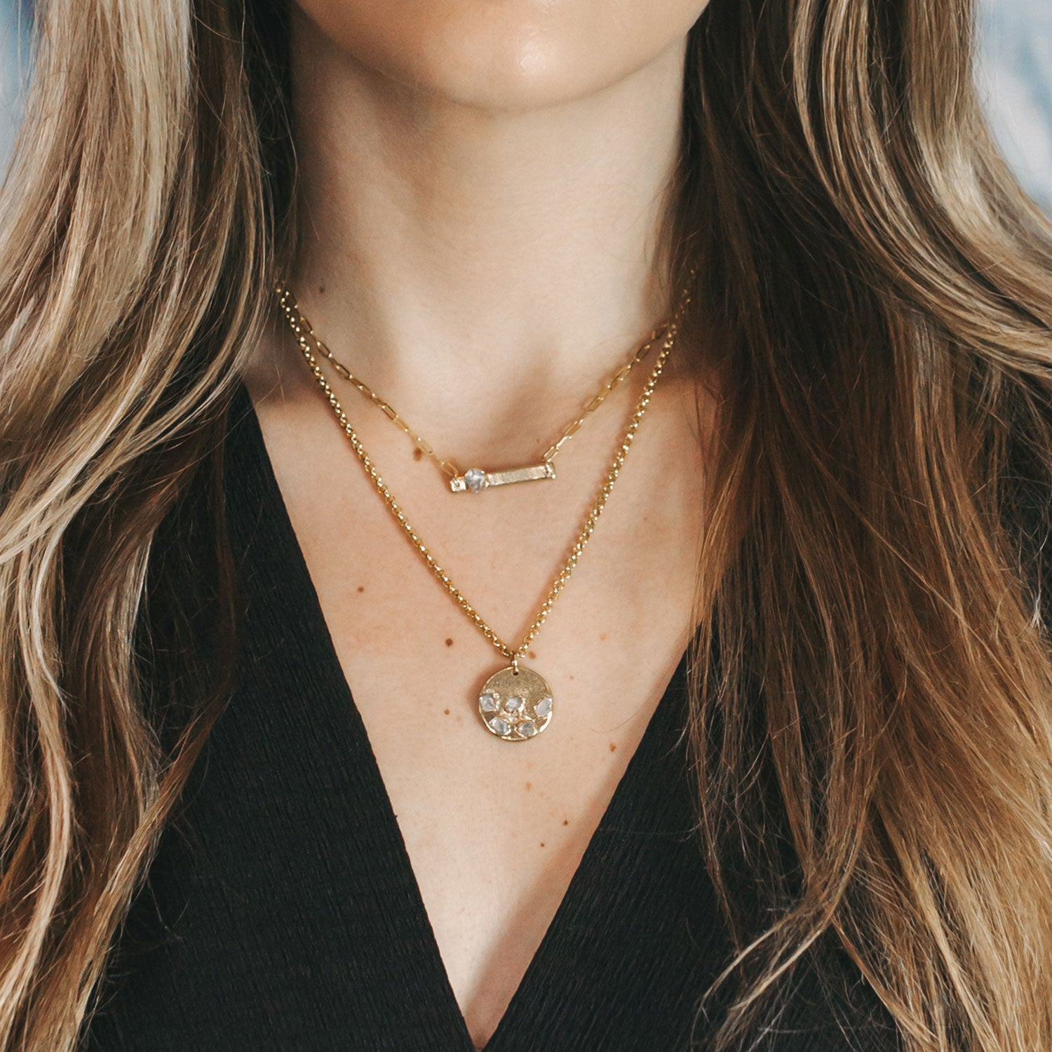 Herkimer Diamond Layering Necklaces by Dani Barbe
