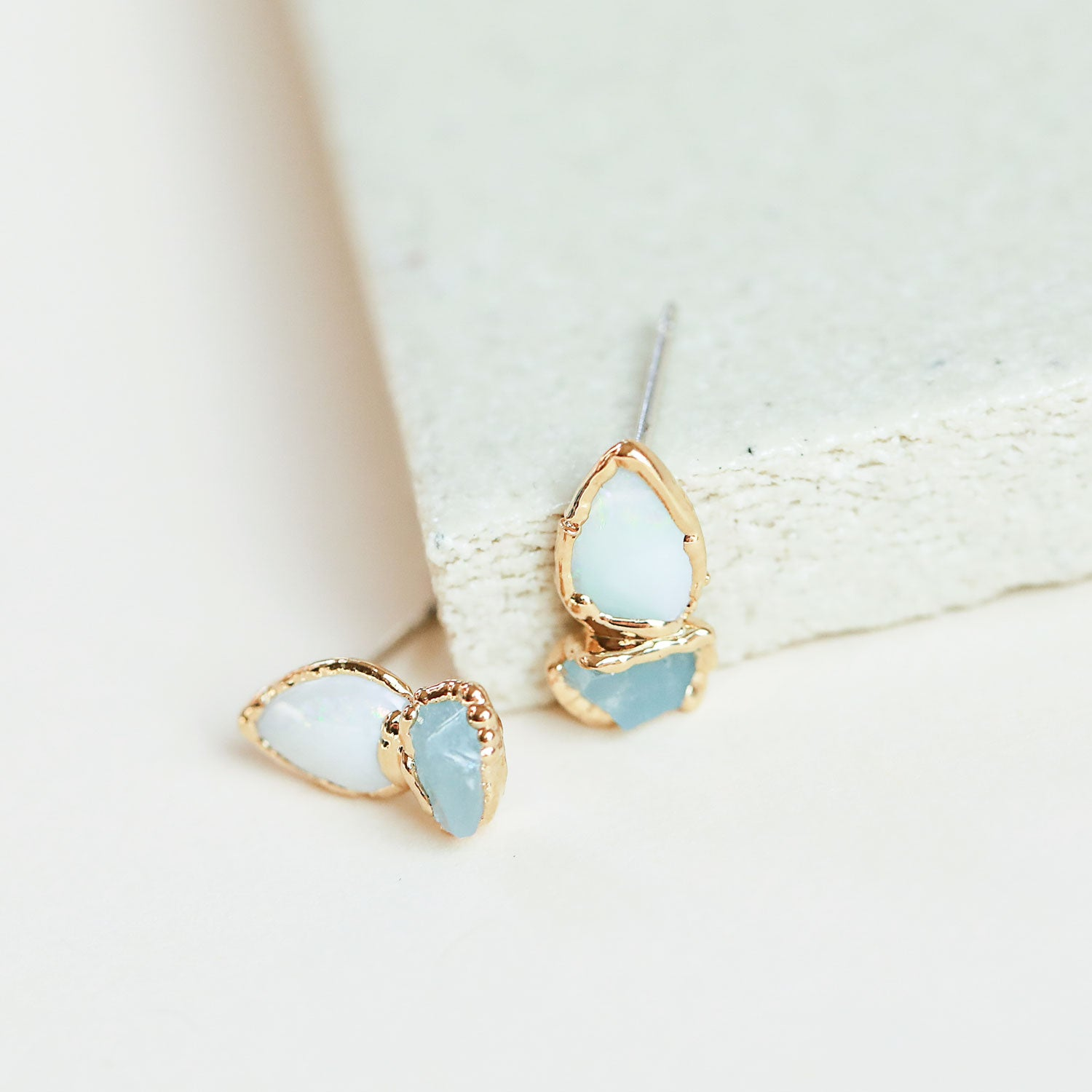 Opal and Raw Aquamarine Studs for March Birthstone