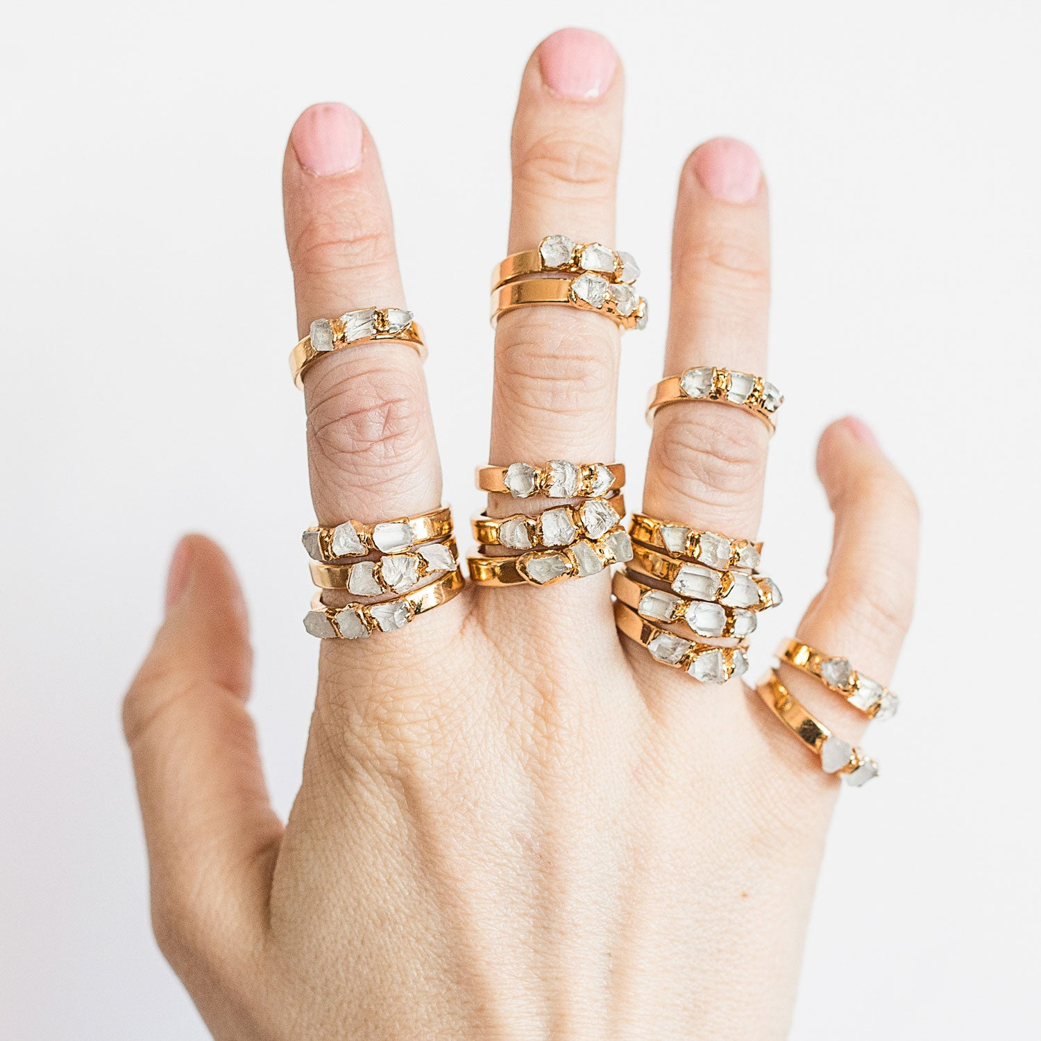 Raw Quartz Stack Ring by Dani Barbe