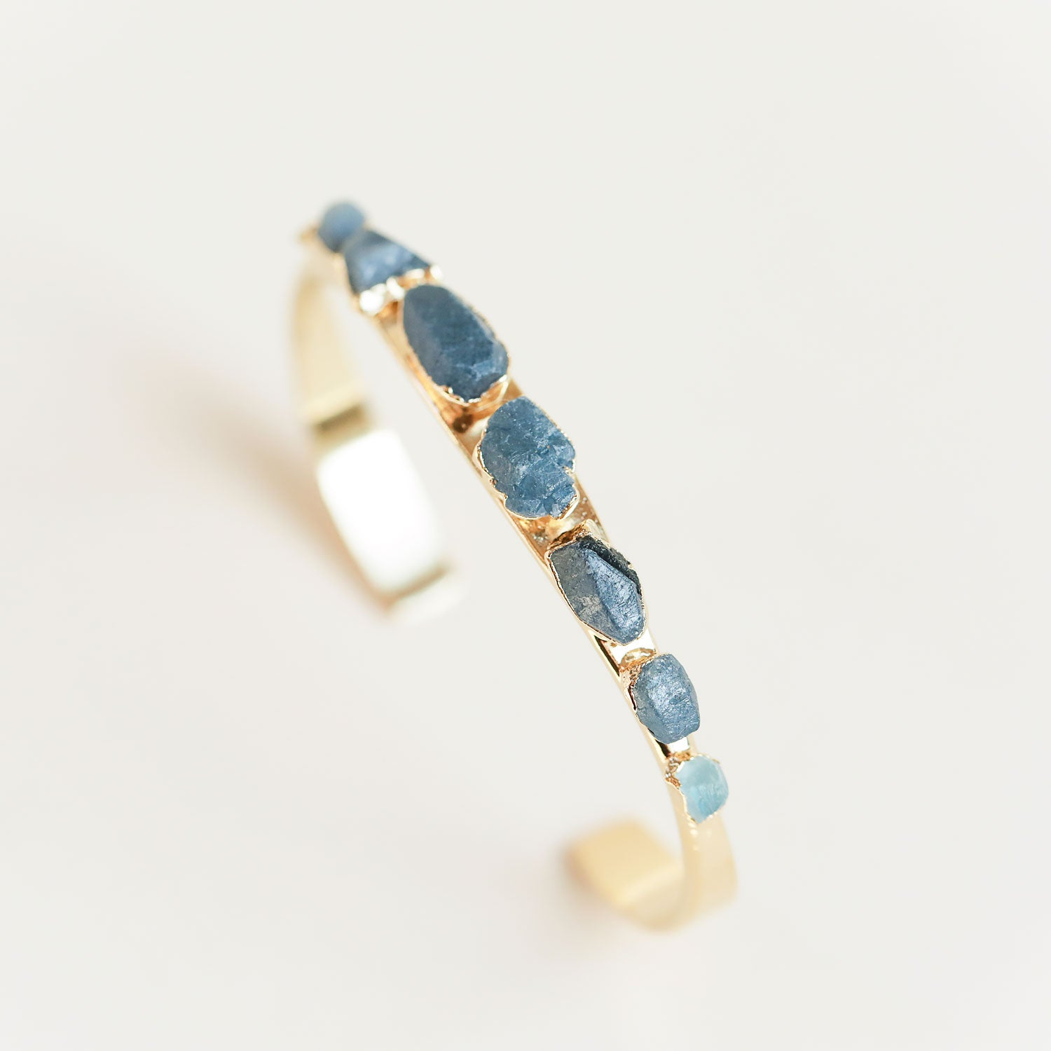 Raw Sapphire Cuff with Aquamarine Accent Stones by Dani Barbe