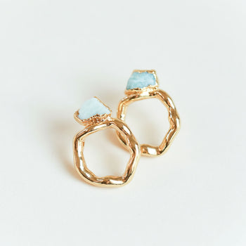 Amazonite Halo Earrings