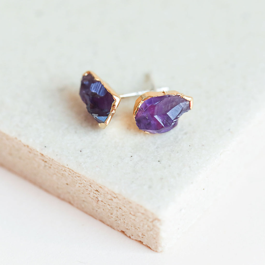 Amethyst Gold Studs by Dani Barbe
