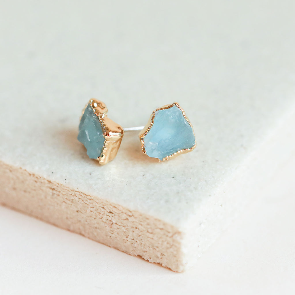 Pop these natural aquamarine studs in your ears and stay cool as a cucumber.