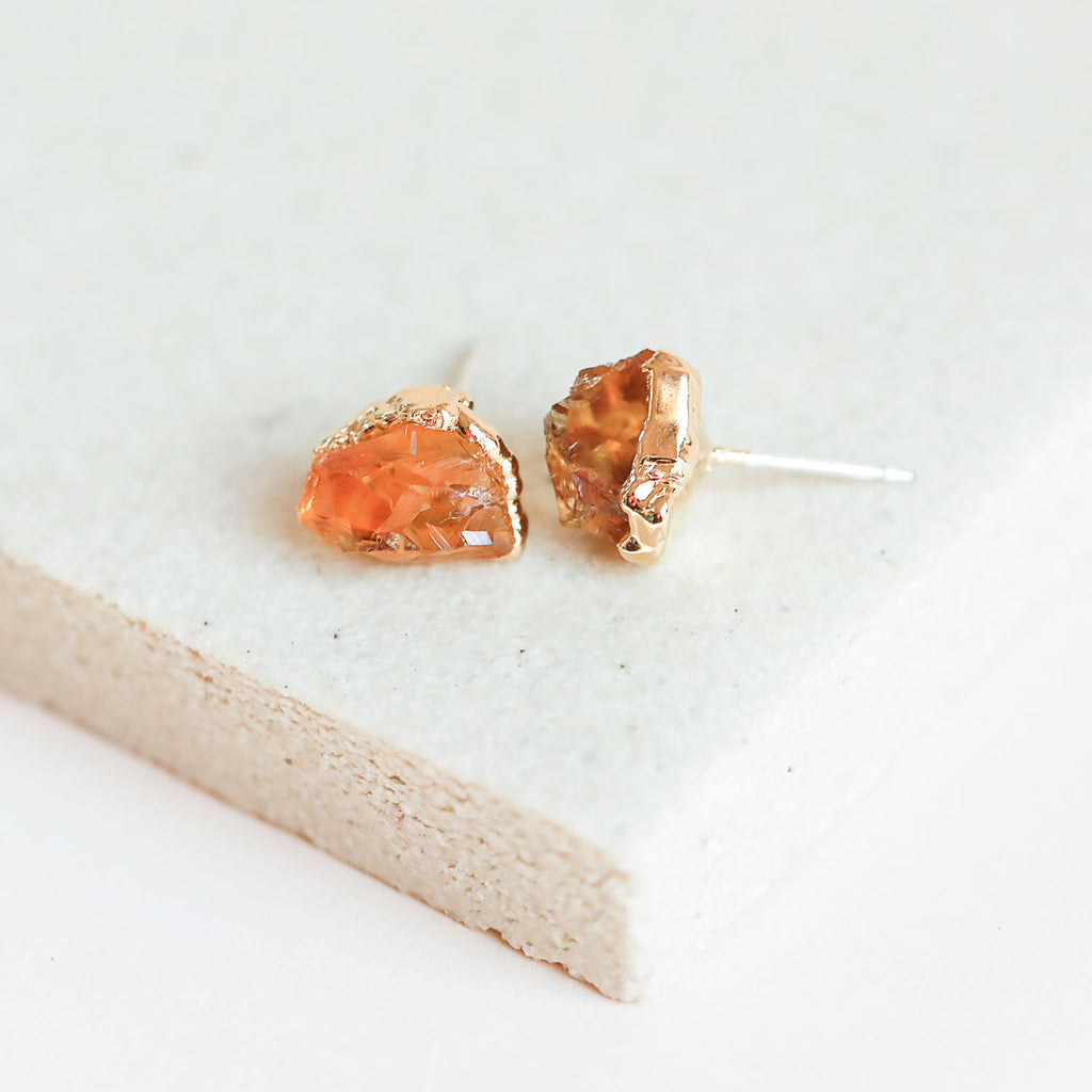 Natural Citrine Gold Studs by Dani Barbe