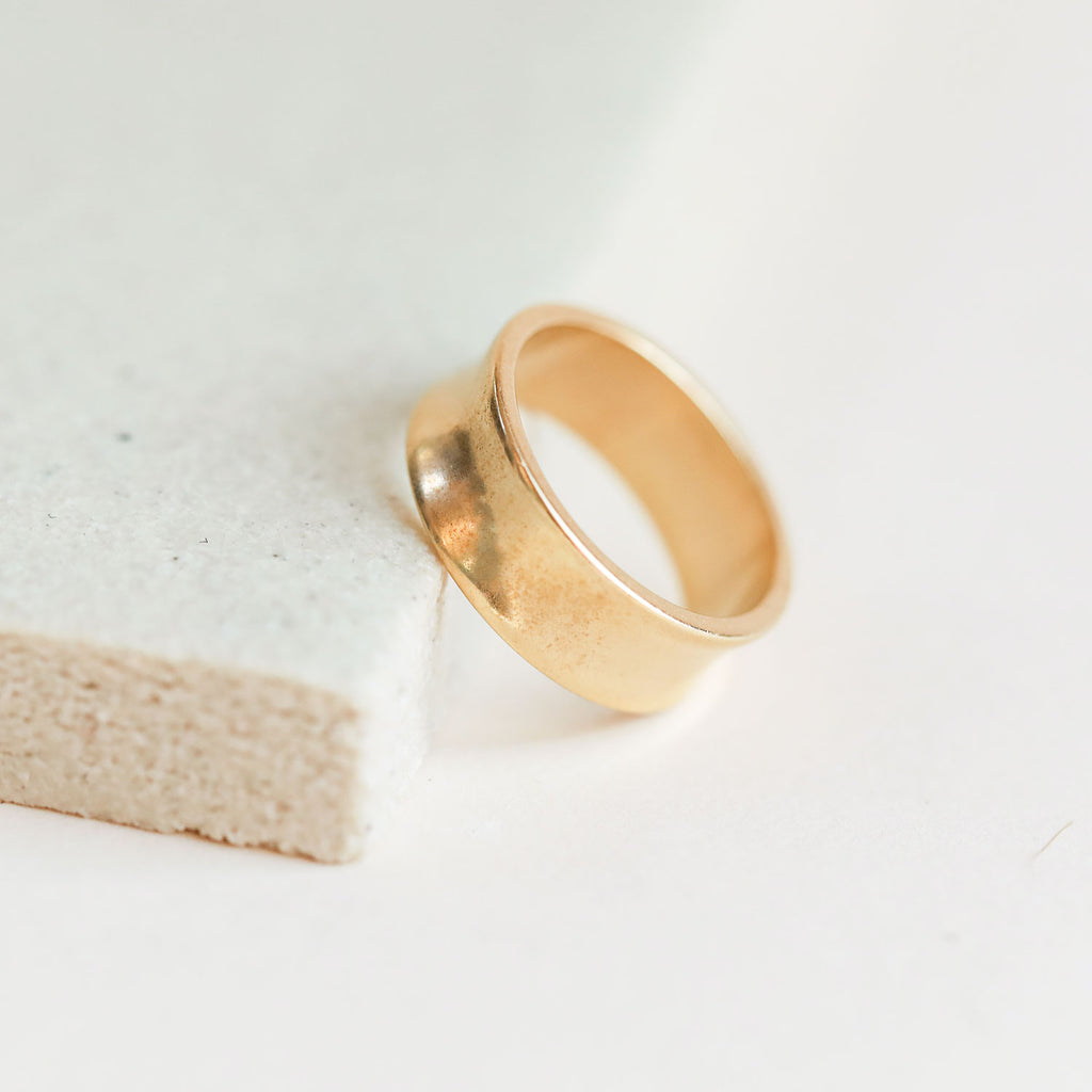 Gold Concave Band Ring by Dani Barbe