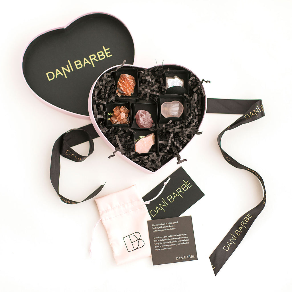 Crystal kit with raw gemstone jewelry by Dani Barbe